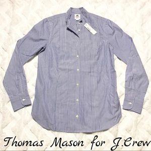 Jcrew Thomas Mason Pleated Button Front Shirt Sz 2